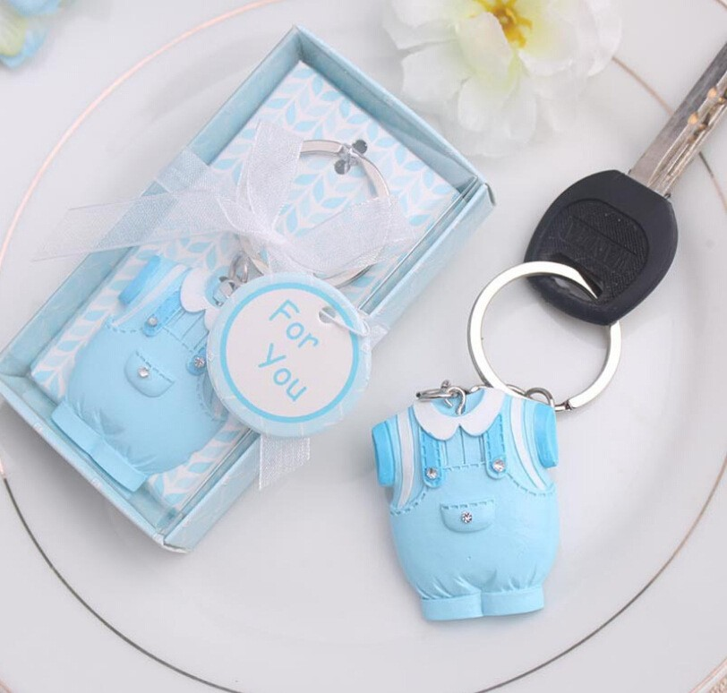 Baby Shower Favors And Gift Cute Baby Clothes Key Chain Blue Pink Themed Keychain For Boy 100pcs/lot Exquisite Traditional Embroidery Art Event & Party