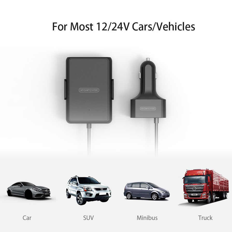 NTONPOWER 5 porty USB QC 3.0 ładowarka samochodowa z ponad 1.8m kabel przedłużający z odpinanym klipsem dla telefonów komórkowych tablet z funkcją telefonu GPS ładowarka samochodowa