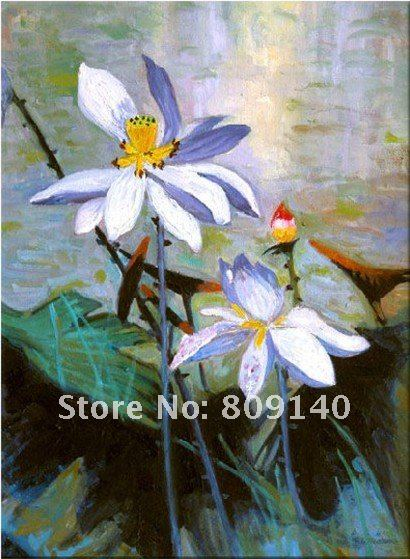 Stretched Oil Painting Canvas Flower Abstract Lotus Decoration Asian Art High Quality Handmade Home Office Wall