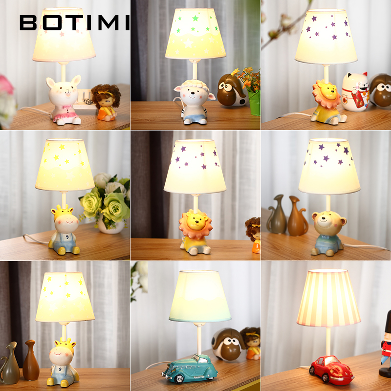 BOTIMI Cartoon LED Table lamp For Bedroom Boys Bedside Lighting Girls Desk Reading Light Kids Table Lamps Children Luminaria