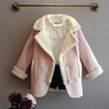 new 2015 autumn winter casual Plus velvet warm baby girls Suede jackets fashion children outerwear coat suit 2~7 age girls coats
