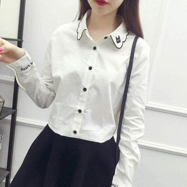 7722a2153ad9 € 14.4 |Blusa blanca Linda gato negro apliques Bordado mujeres blusa  algodón casual Camisa blanca manga larga Tops blusas femininas en Blusas y  ...