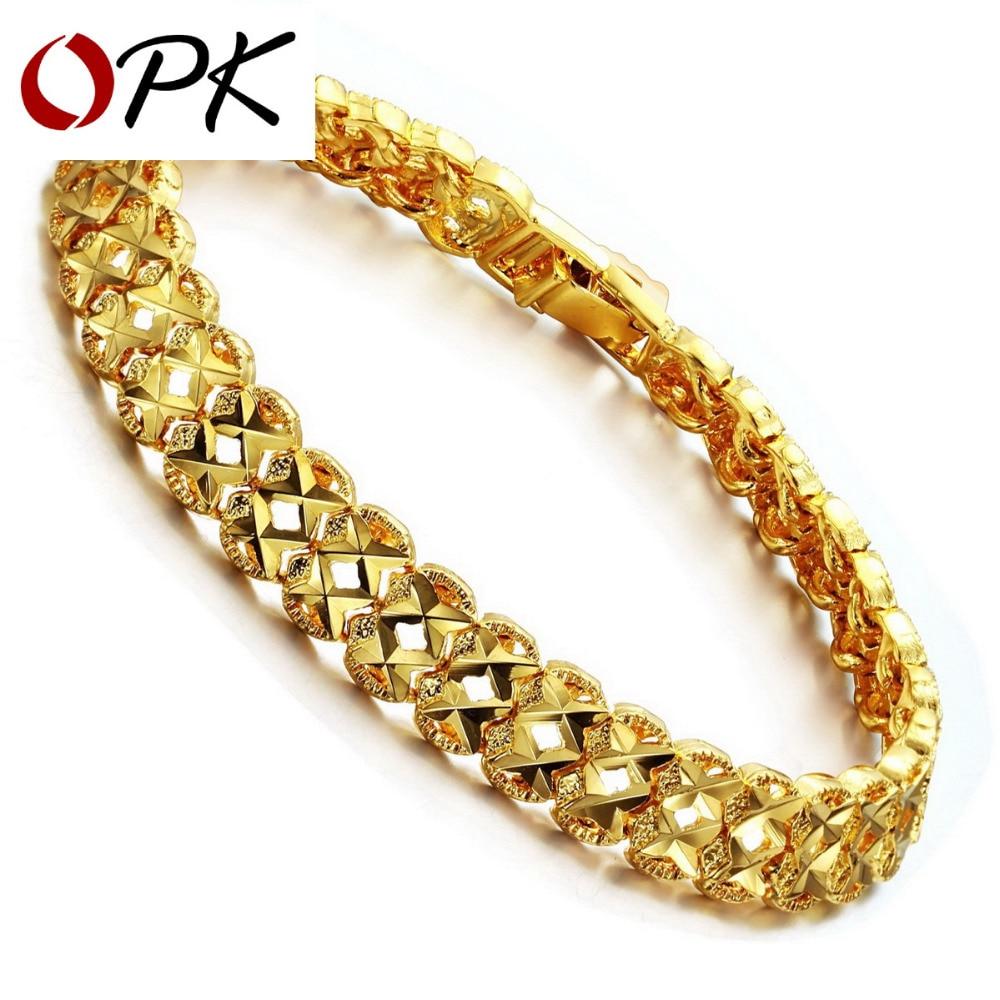 OPK JEWELRY Gold Color Leisure Bracelet For Men Women Hot Selling