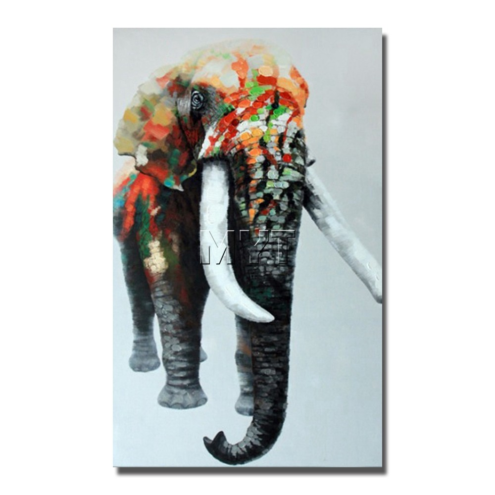Large Size Elephant Oil Painting On Canvas Modern Wall Art Hand ...