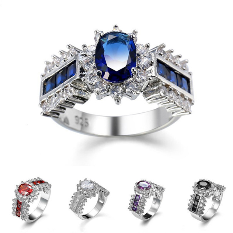 Charm Multicolor Heart Zircon Blue/White/Pink Fire Opal Rings For Women Vintage Fashion  ...