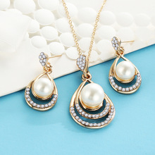 ZA Fashion Simulated Pearl Bridal Jewelry Sets Crystal Oval Necklace and Earring Jewellery Wedding Party Women Bead bijoux femme цены онлайн