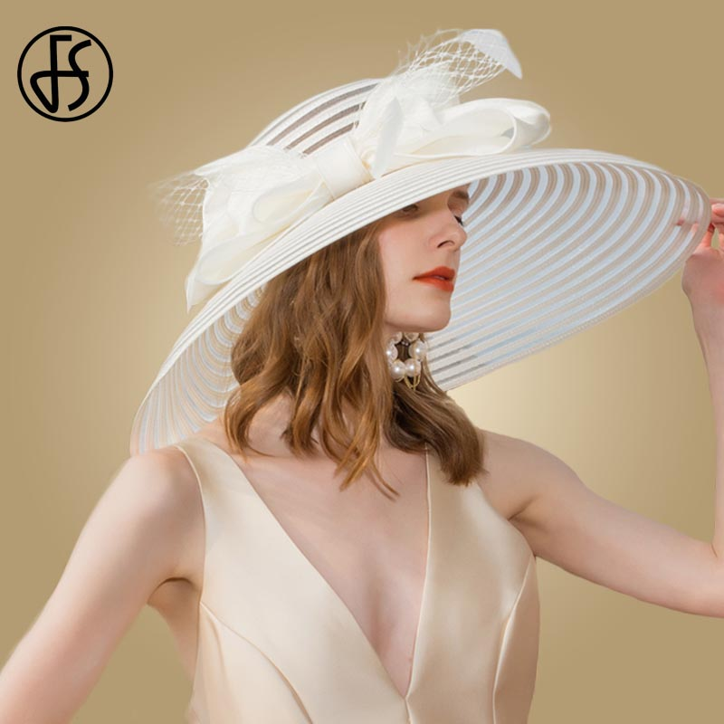 Sombreros de boda de ala grande para mujer elegante negro Kentucky Derby sombrero ancho grande Bowknot pluma Iglesia señoras vestido sombreros sombreros de fieltro - 2