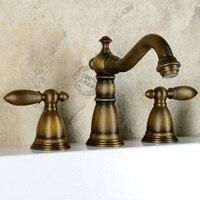 Gu Chuanou full copper cold green bronze antique classical American split three holes handwashing basin taps
