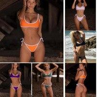 BJHOW Sexy Bandage Bikinis Set 2018 Solid Bikini Thong Brazilian Biquine Micro Bikini Cropped Swim Suit