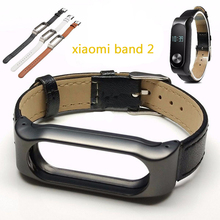 Hot Sale for xiaomi mi Band 2 Strap For Original Xiaomi Miband 2 Smart band adjustable metal frame leather Wristband