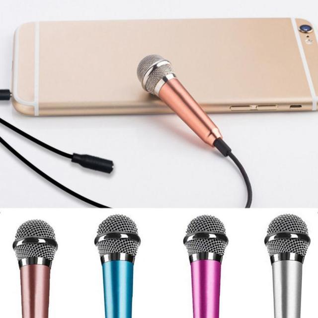 Portable 3.5mm Stereo Studio Mic KTV Karaoke Mini Microphone For Cell Phone  Laptop PC Desktop 5.5cm*1.8cm Small Size Mic
