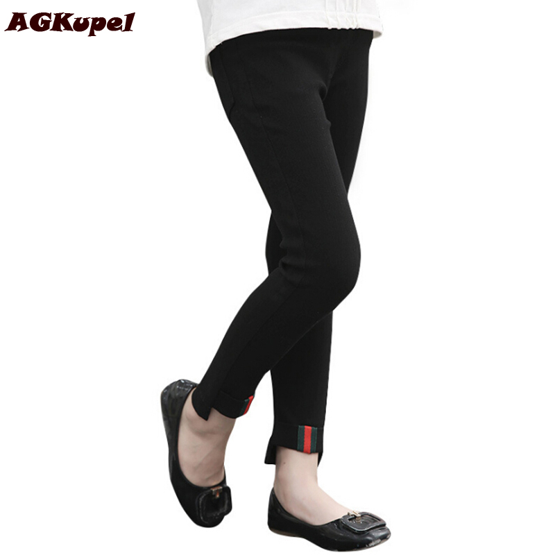 AGKupel Spring Autumn Girls Leggings Fashion Soft Children Elastic Girls Pants Teenager Solid Color Trousers For