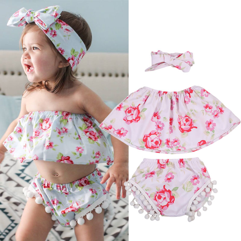 Newborn Baby Girls Sleeveless Tops+ Shorts Pants Headband 3PCS Outfits baby girl clothes baby girl Clothes