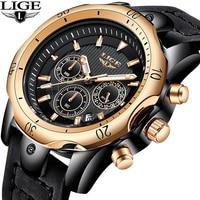 Relojes Hombre LIGE модные Для мужчин s часы, чтобы Элитный бренд 24 часа большой циферблат Кварцевые часы Для мужчин военные кожаные Водонепроницаем