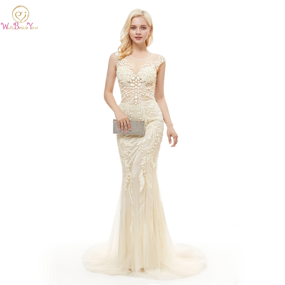 Tulle Dresses Prom Party White Champagne Mermaid Rhinestone Sequined Beading Sleeveless Sweep Train Evening Gown Walk Beside You