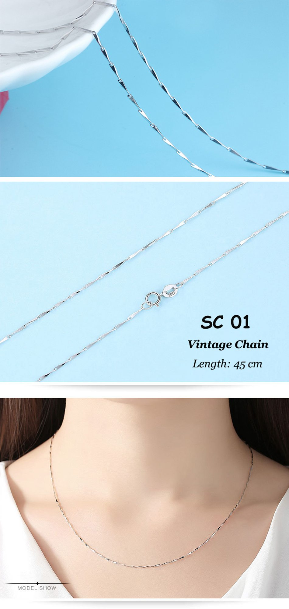 ORSA JEWELS Genuine 925 Sterling Silver Necklace Figaro O-ring Neck Chain Twisted Snake Bar Singapore Box Chain Necklace Women 1