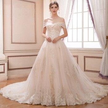 2018 Haute Couture A-Line Wedding Gowns Appliques Big Train Bridal Dresses Off the Shoulder vestidos de noiva Wedding Dresses