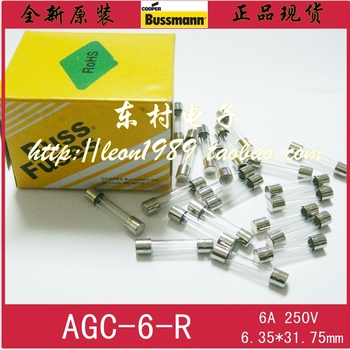 [SA] United States BUSSMANN Fuse AGC-6 R 6A 250V fuse 6.35 x 31.75mm - 50pcs / lot