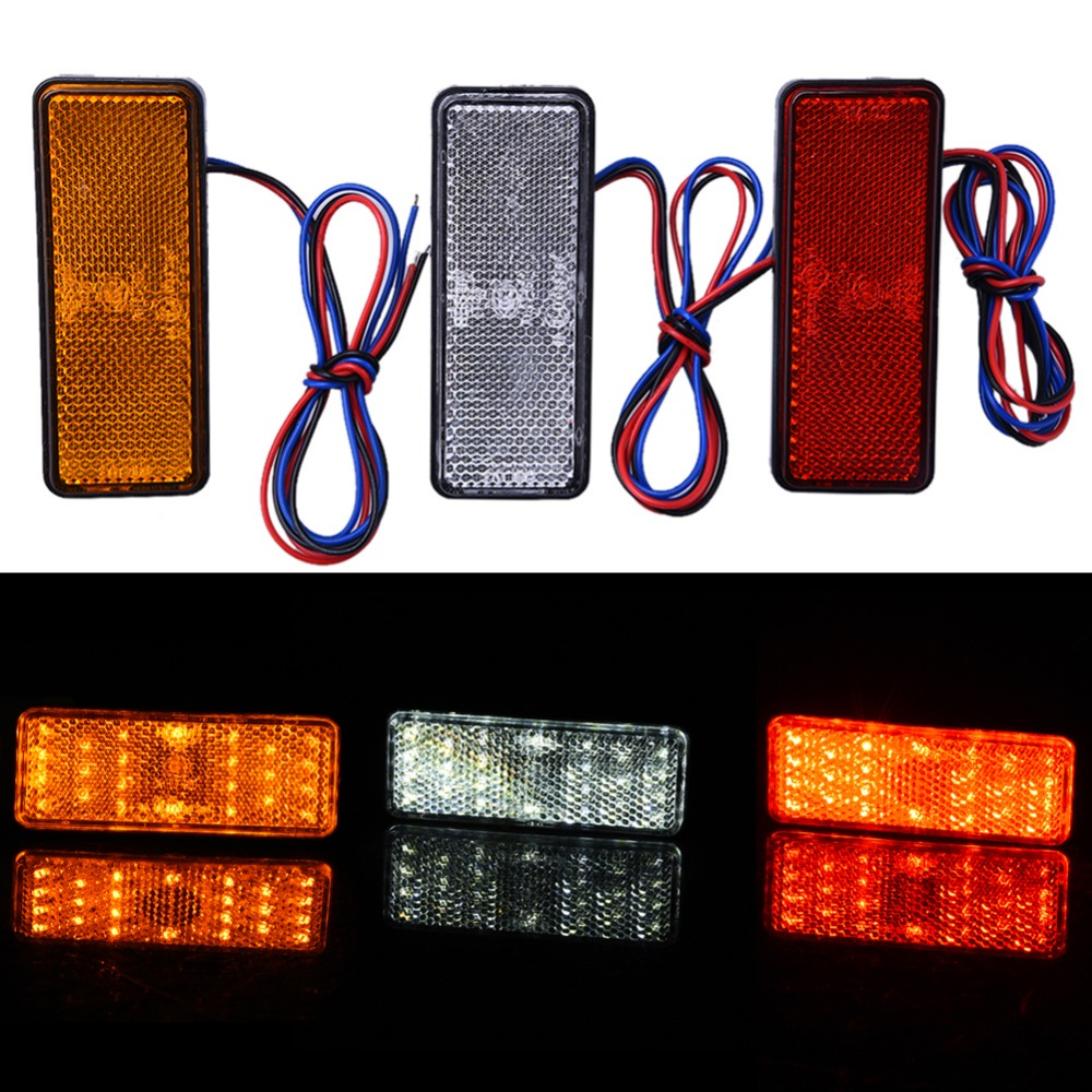 Car Motorcycle 24SMD LED Tail Brake Turn Signal Light Lamp Square Reflector Motobike LED Lights Red White Yellow Light 12V