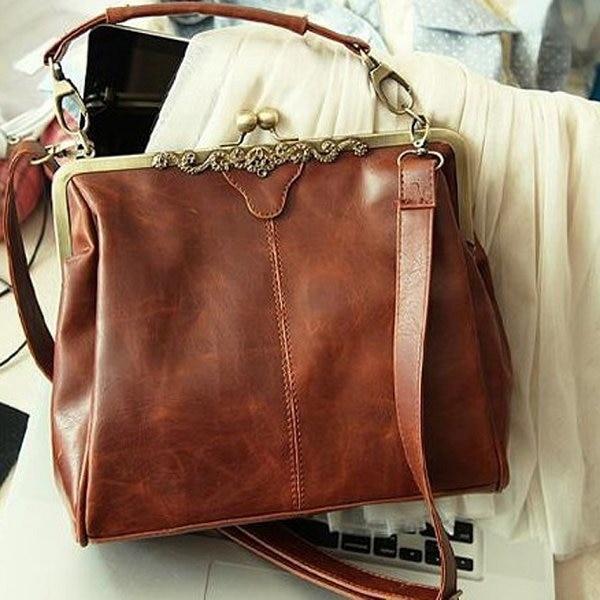 Women New Europe Retro Brown PU Leather Shoulder Bag Stylish ...