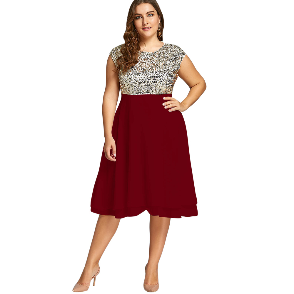 Gamiss Women Plus Size 5XL Dress Club Party Dresses Robe Female Flounce  Sequin Sparkly Cocktail Spring Dress De Fiesta Vestidos-in Dresses from  Women s ... 21c4ce12c003