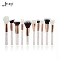 Jessup Pearl White Rose Gold 10pcs Makeup Brushes Brushes Foundation Tool Powder Make Up Brush Blushes