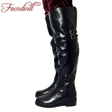 FACNDINLL women winter boots fashion genuine leather fur warm snow boots brand shoes woman leather knee high boots platform shoe