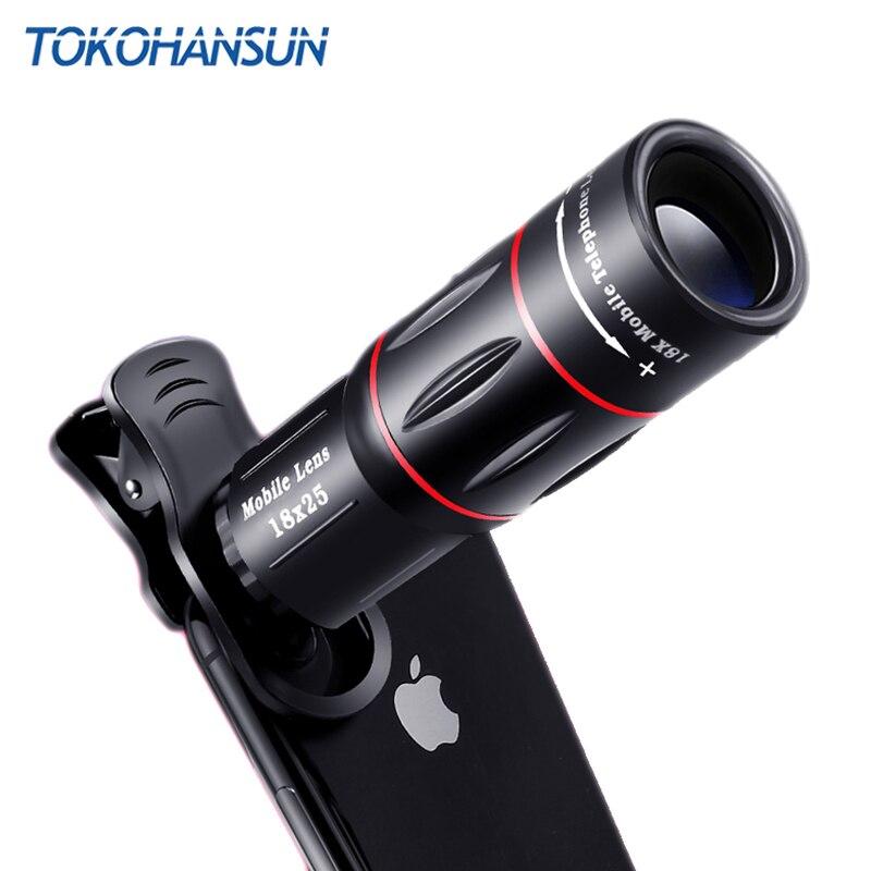 TOKOHANSUN Mobile Téléphone Lentille 18X Zoom Télescope Universel Clip Telefon Camera Lens pour iPhone x 7 8 Plus Samsung s9 plus Xiaomi