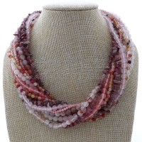 N012913 18 12 Strands Mixed Color Quartz Tourmaline Necklace