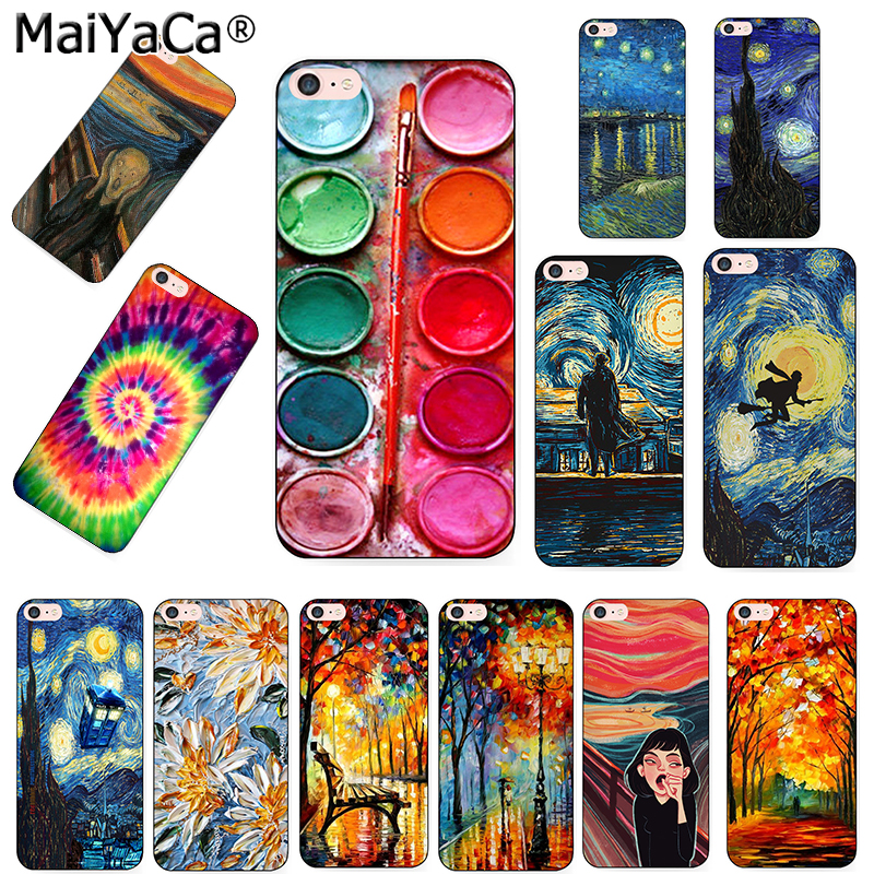 Phone <font><b>Case</b></font> For <font><b>iPhone</b></font> 5s 6s 7 8plus X xs max xr <font><b>case</b></font> Van Gogh Starry Night star <font><b>Ballet</b></font> Scenery flower Palette Scream by Munch image