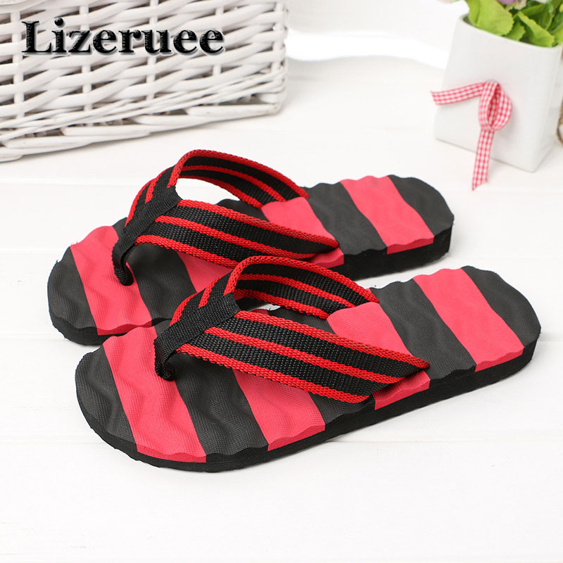2018 Summer Casual Men's Flip Flops Flat Sandals Shoes For Men Striped Flip Flops Beach Sandals Shoes Man Outside Shoes HS011
