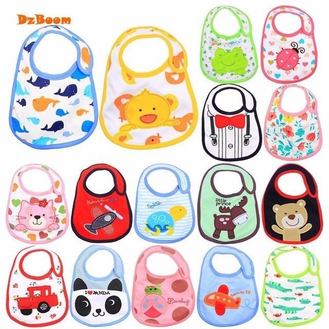 DzBoom Embroidery Waterproof Cartoon Baby Bibs 2018 Cute Fashion Animal Cotton Newborn Baby Saliva Towel Wholesale Baby Stuff