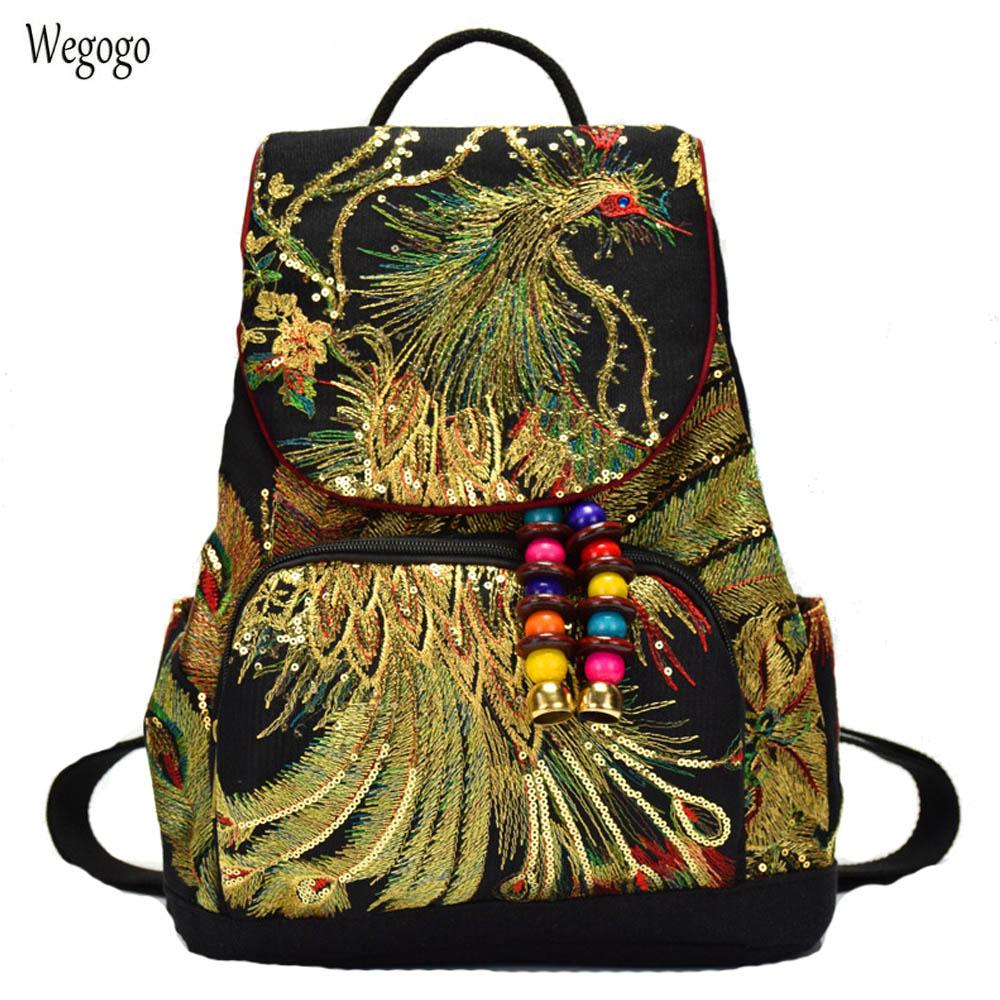 Vintage Women Backpack Boho Embroidery Peacock Sequin Rucksack National Boho Beads Travel Schoolbags Shoulder Bag For Woman