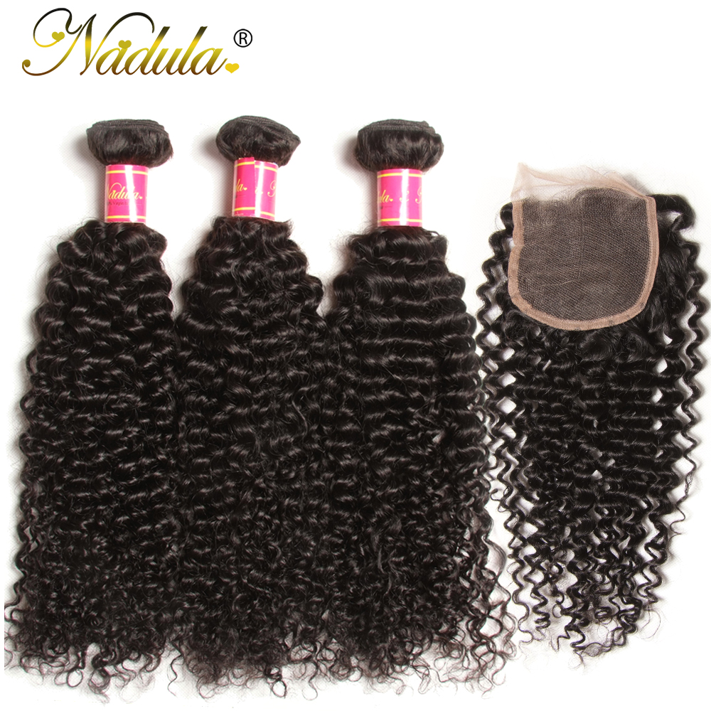 Nadula Hair Brazilian Curly Bundles With 4*4 Lace Closure Virgin Hair Bundles With Closure Natural Color Virgin Human Hair Weave(China)