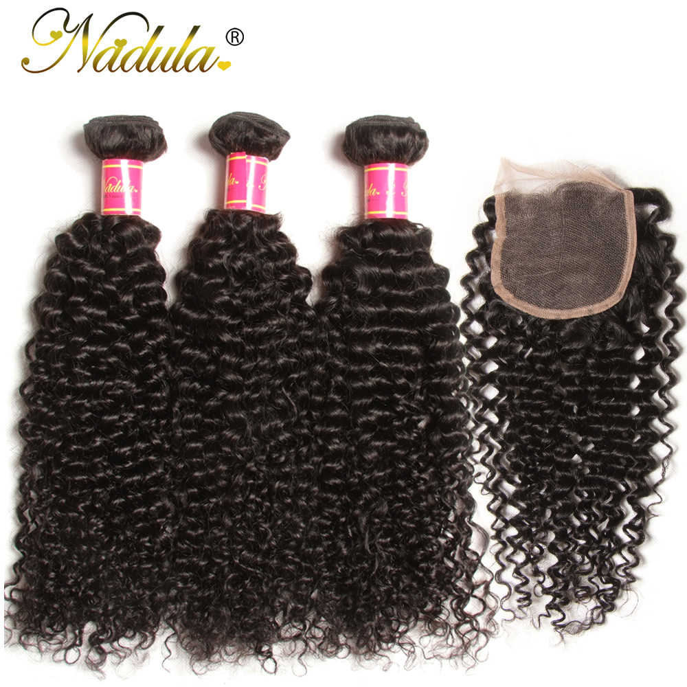 Nadula Hair Brazilian Curly Bundles With Closure 4*4 Lace Closure Virgin Human Hair Bundles With Closure 3 Bundles With Closure