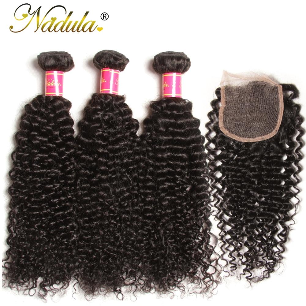 Nadula Hair Brazilian Curly Bundles With Closure 4*4 Lace Closure Virgin Human Hair Bundles With Closure 3 Bundles With Closure