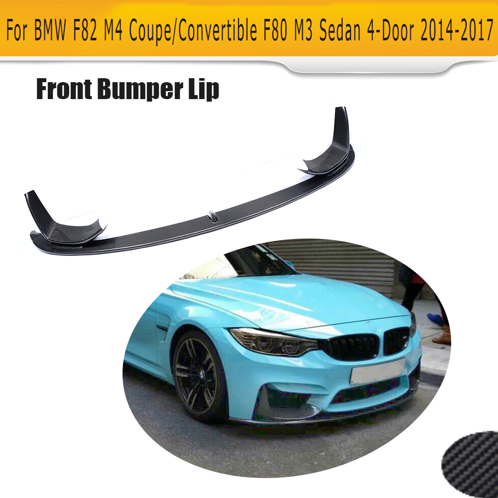 M3 M4 carbon fiber car front Bumper lip Chin Spoiler Extension for BMW New 4 series F80 M3 F82 F83 M4 14-17 P Style