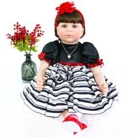 60cm Handmade Silicone Reborn Princess Doll Toy 24inch Lifelike Soft Silicone bb reborn Baby Dolls Toddler Fridolin For Girls