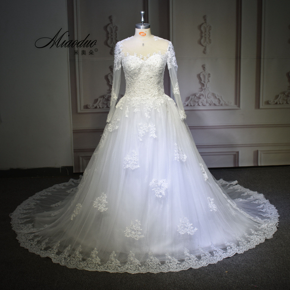 2017 vestido de noiva o neck iusion back long sleeve wedding dress lace ball gown wedding
