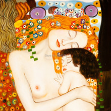Handpainted Nude Oil Paintings – Le tre eta della donna (Mother and Child) Gustav Klimt Canvas Painting Reproductions