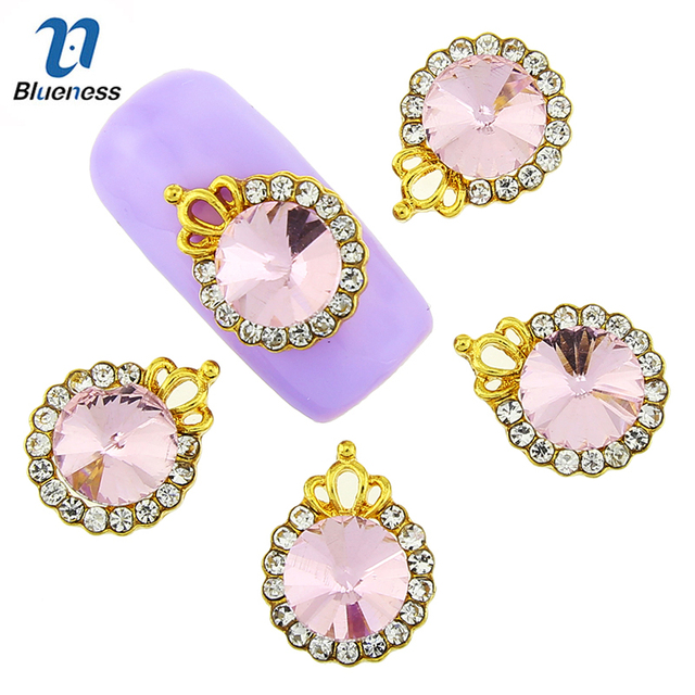 Blueness 10 Pcs Charms Imperial Crown Hollow Gold Alloy Design Charms  Rhinestones Nail Art Decorations 3D f5b9ec3f40c6