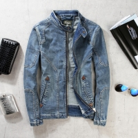 2019 new stitching denim jacket men's slim stand retro motorcycle clothing, fashion youth solid color short denim jacket top