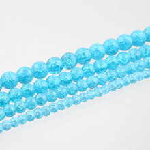 Blue Stone Beads 6/8/10/12 mm Natural Stone Beads Snow Cracked Quartz Crystal Spacer Beads for Jewelry Making Bracelet DIY