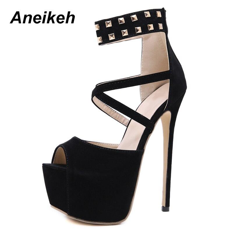 d6083832e5 Mujer Moda otoño Plataforma Aneikeh De Black Zapatos Tacón Altos 40  Primavera Finos Tacones Negro Sólida Super Elegantes w4Xxqzx
