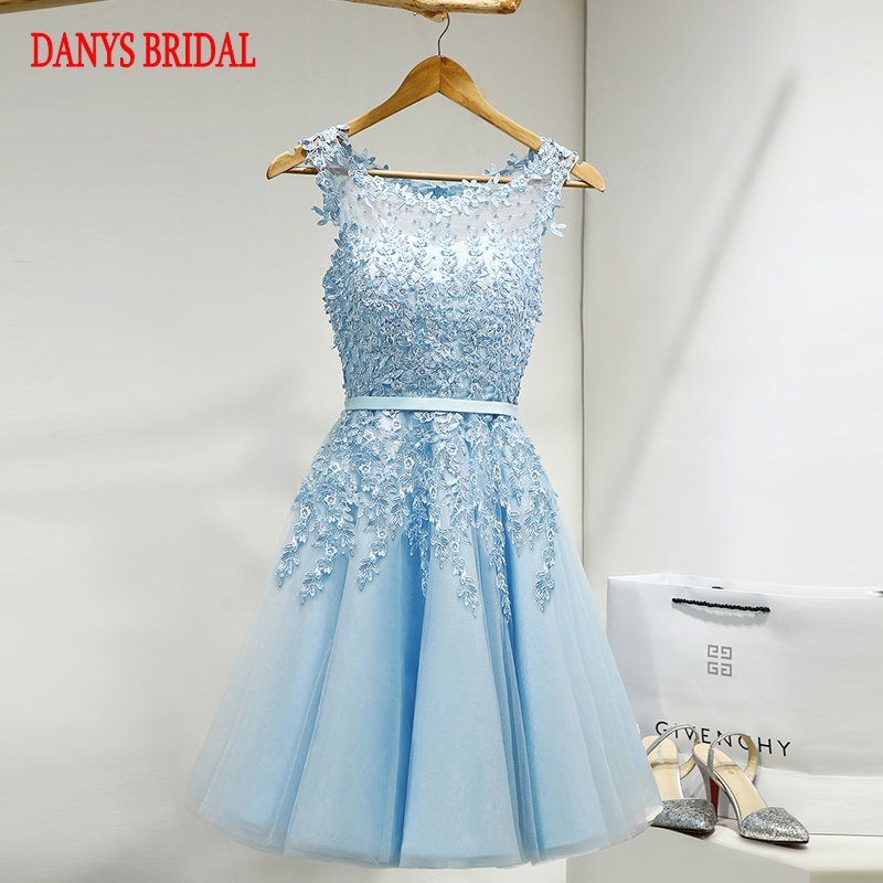 Sexy Sky Blue Short   Prom     Dresses   Tulle Party 8th Grade   Prom     Dresses   for Graduation