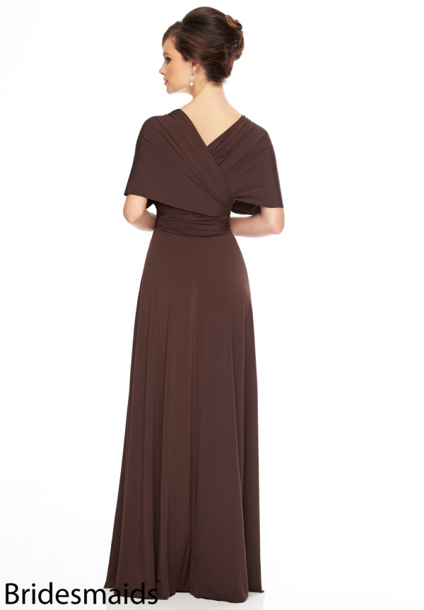 New Arrival Brown Bridesmaid Dresses V neck Floor Length Elegant Short  Sleeves Gowns Formal Wedding Party Dress JY 006-in Bridesmaid Dresses from  Weddings ... 314cf0c575fa