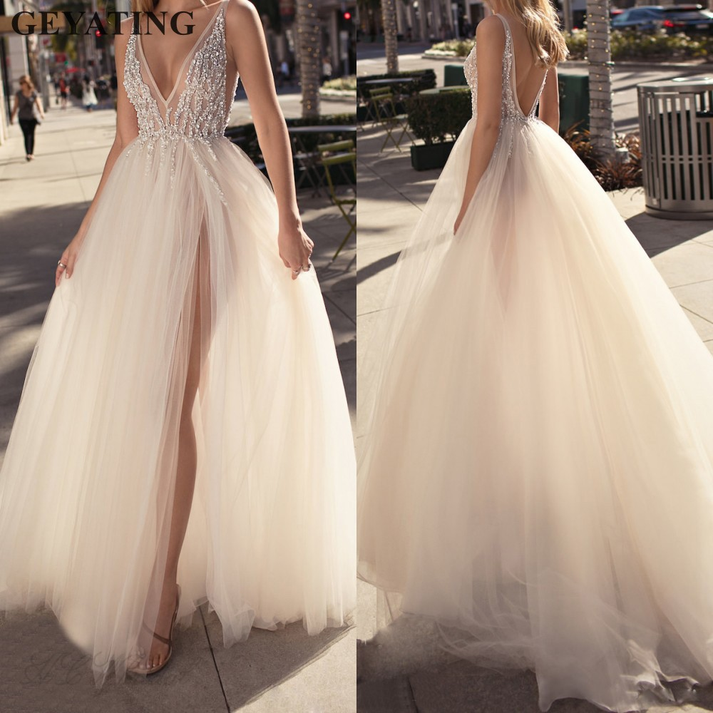Elegant V-neck Backless Tulle   Evening     Dress   Long 2019 Sexy High Split Prom Formal Gowns Beaded Women Special Occasion   Dresses