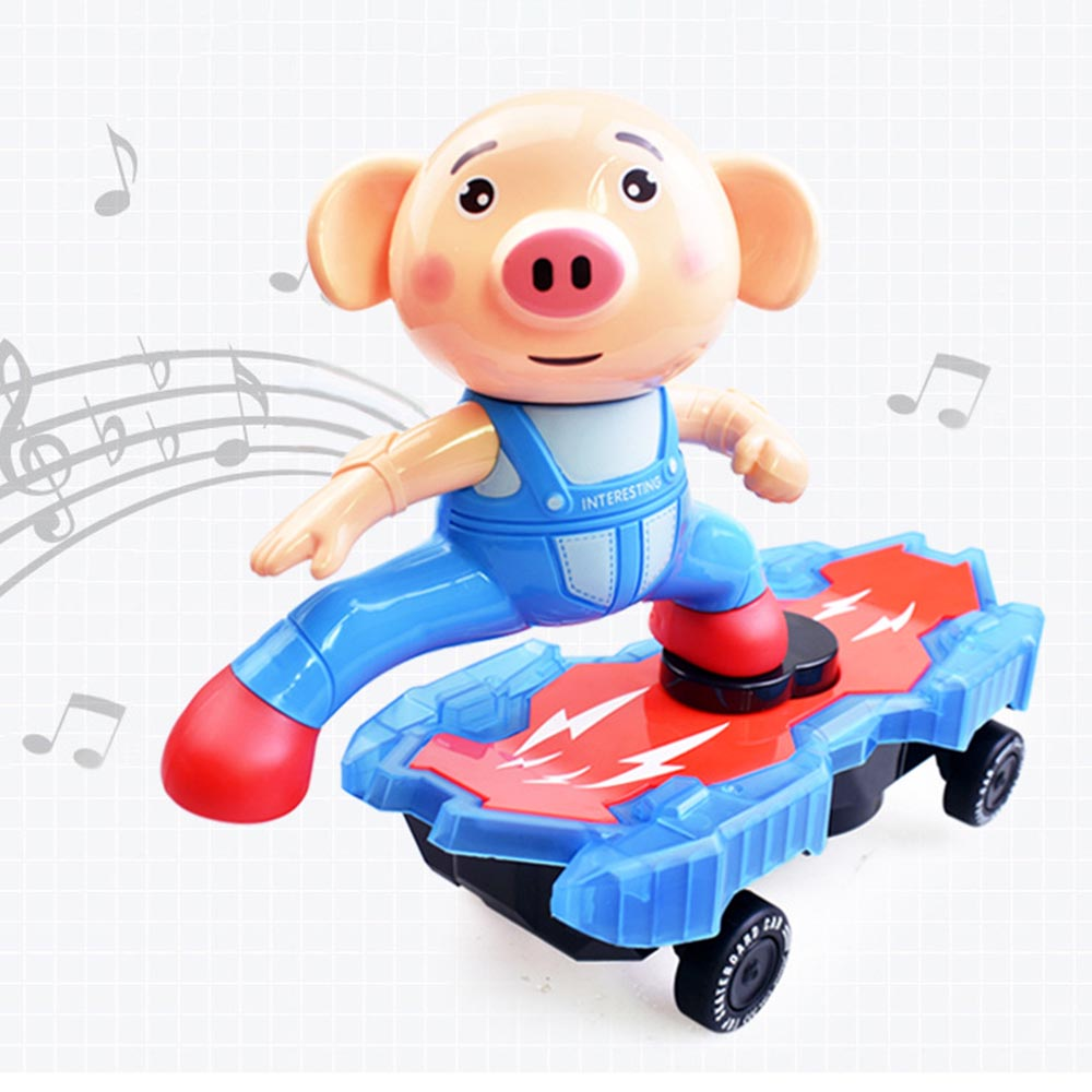 Electric Cartoon Animal Pig Stunt Scooter Universal Rotating Tumble Music Led Light Children's Funny Entertainment Toys Good For Energy And The Spleen