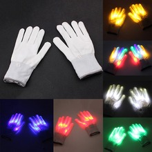 1 Pair LED Flashing Gloves Rave in Glow Party Supplies Light Up Finger Tip knitted nylon LED Gloves With cr2016 button battery