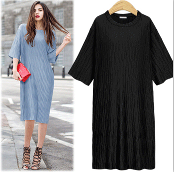 Fashion New 2018 Summer Loose Dresses Streetwear Style Straight Soild Slim Short Sleeve Empire Good Quality Clothing Hot D84034L 1